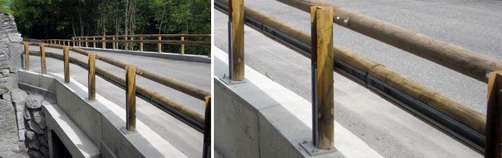 Ref 800 401-01: a total wood junction to connect the guardrail to the handrail